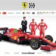 Binotto, Leclerc y Sainz, junto al SF21