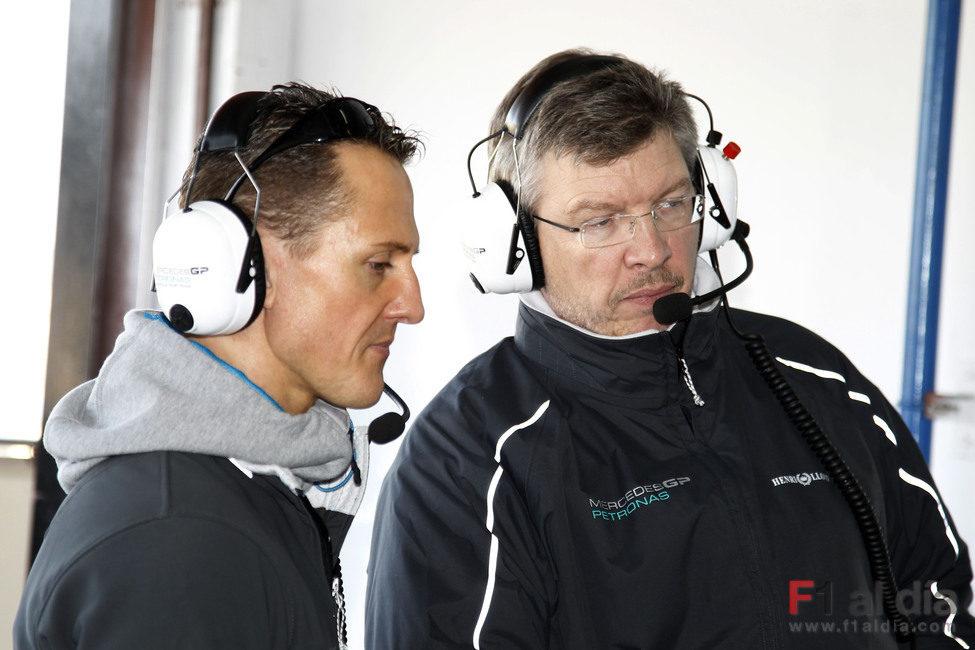 Schumacher y Brawn en Valencia