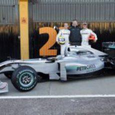 Rosberg, Brawn, Schumacher y el W01
