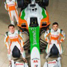 Di Resta, Sutil y Liuzzi con el VJM03