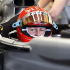 Schumacher con su casco rojo