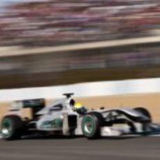 El W01 de Rosberg a toda velocidad