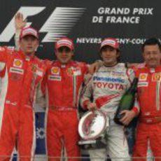 El podio del GP de Francia 2008