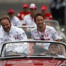 Barrichello y Button en Magny-Cours