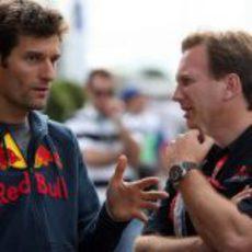 Webber y su jefe de equipo