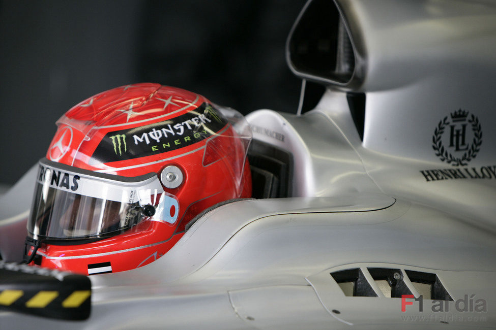 Schumacher en su box
