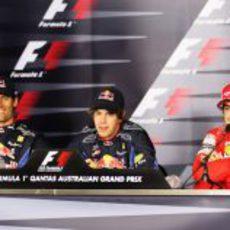 Webber, Vettel y Alonso en rueda de prensa