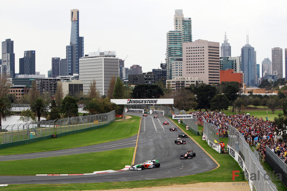 Un circuito en medio de la ciudad de Melbourne