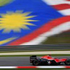 Timo Glock en el GP de Malasia 2010