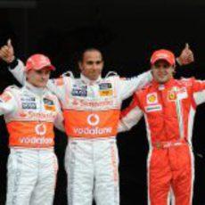 Kovalainen, Hamilton y Massa