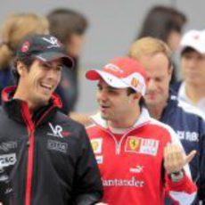 Di Grassi y Massa hablan antes de la salida