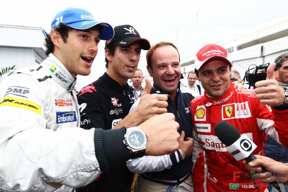 Bruno Senna, Lucas di Grassi, Rubens Barrichello y Felipe Massa
