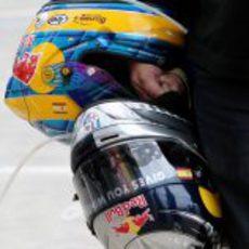 Los cascos de Vettel y Bourdais