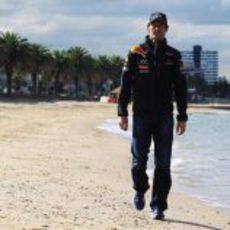 Webber pasea por una playa de Melbourne