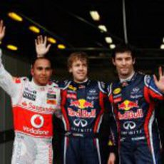 Sebastian Vettel, Lewis Hamilton y Mark Webber en el GP de Australia 2011
