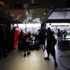 El box de Virgin Racing