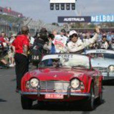 Pérez disfruta de su primer 'drivers parade'