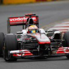 Hamilton persiguiendo a Vettel en Albert Park