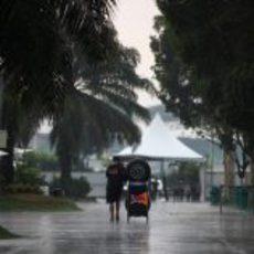 Diluvio en el paddock de Sepang
