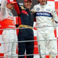 Los tres vencedores de Monza