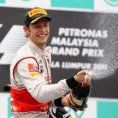 Jenson Button en el podido del GP de Malasia 2011