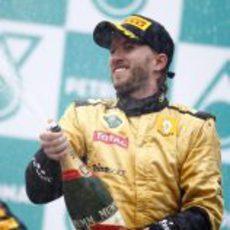 Champán para Nick en el podio del GP de Malasia