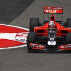 Jerome D'Ambrosio en la horquilla del circuito de Shanghai