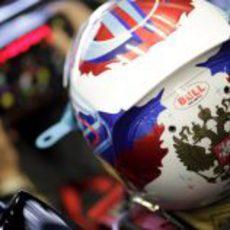 El casco de Vitaly Petrov en el GP de Turquía 2011