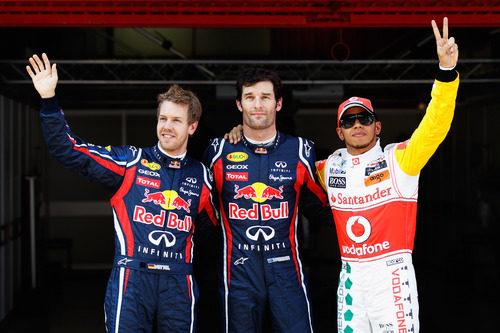 Webber, Vettel y Hamilton, los tres primeros el sábado en el GP de España 2011