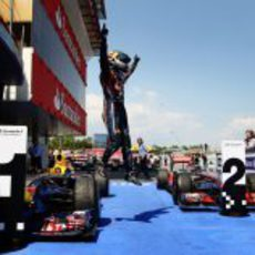 El salto de la victoria en el GP de España 2011