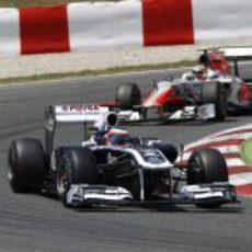 Rubens Barrichello durante la carrera del GP de España 2011