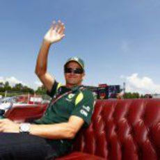 Heikki Kovalainen en el Driver's Parade