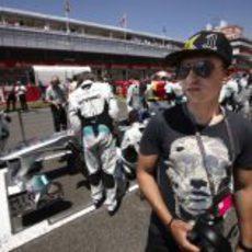 Jorge Lorenzo visitó la parrilla del GP de España 2011