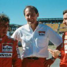 Alain Prost, Ron Dennis y Ayrton Senna