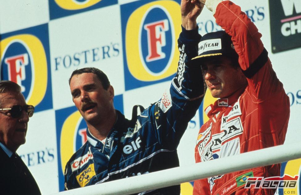 Nigel Mansell y Ayrton Senna en el podio