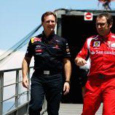 Horner y Domenicali en el GP de Mónaco 2011