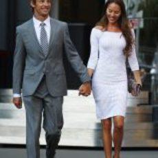Jenson Button y su novia Jessica Michibata en el GP de Mónaco 2011