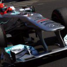 Schumacher en acción en las calles de Montecarlo