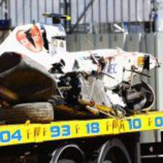 El coche de Sergio Pérez destrozado en el GP de Mónaco 2011