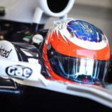 Barrichello antes de salir a pista