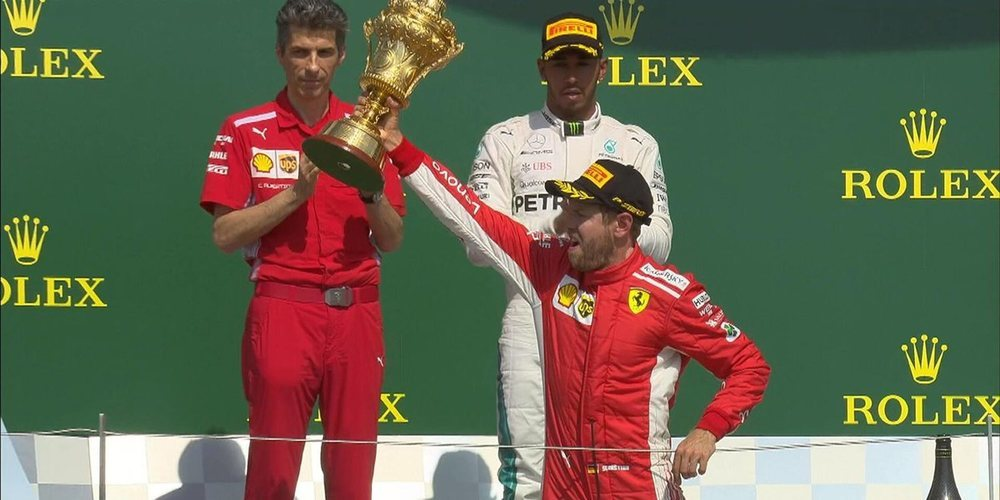 En tierra de Hamilton, Vettel gana y se escapa en la cima