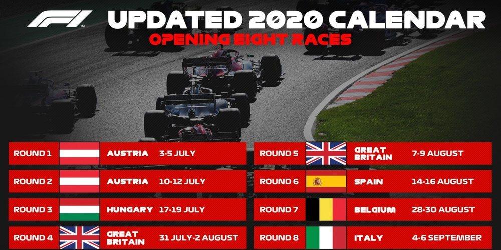 La Fórmula 1 ya tiene un nuevo calendario para dar luz verde a la temporada 2020