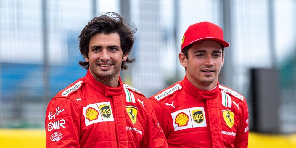"""Leclerc, sobre Sainz: """"Somos muy competitivos, aunque sabemos trabajar juntos para que el equipo avance"""""""