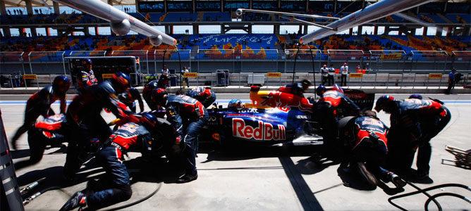 Red Bull usa un sistema láser en sus paradas de boxes