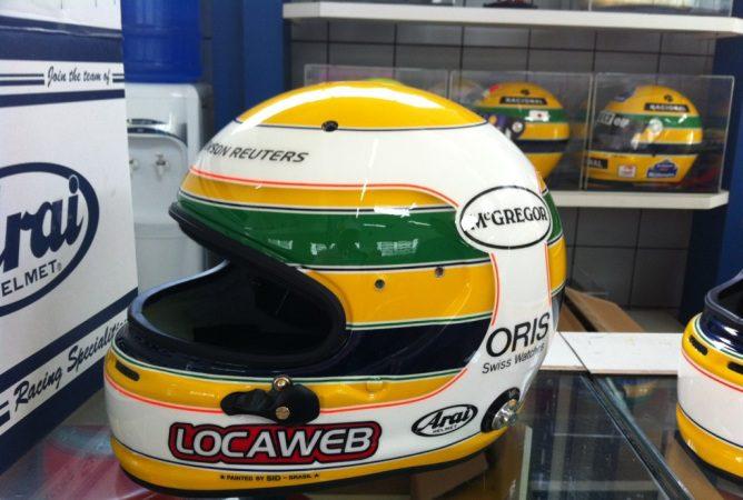 Casco de Rubens Barrichello en Brasil