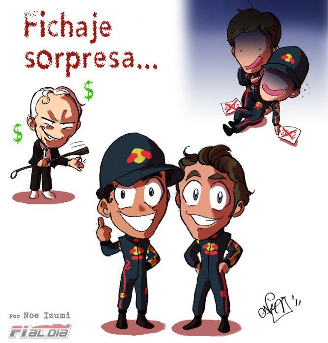 chibis Daniel Ricciaro y Jean-Eric Vergne