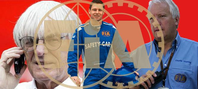 Ecclestone, Maylander y Whiting bajo el emblema de la FIA