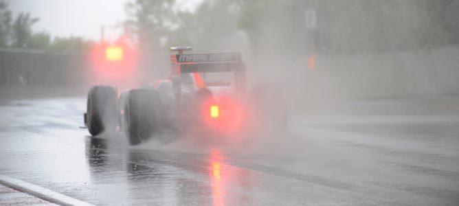 Un Virgin bajo la lluvia en el GP de Canadá 2011