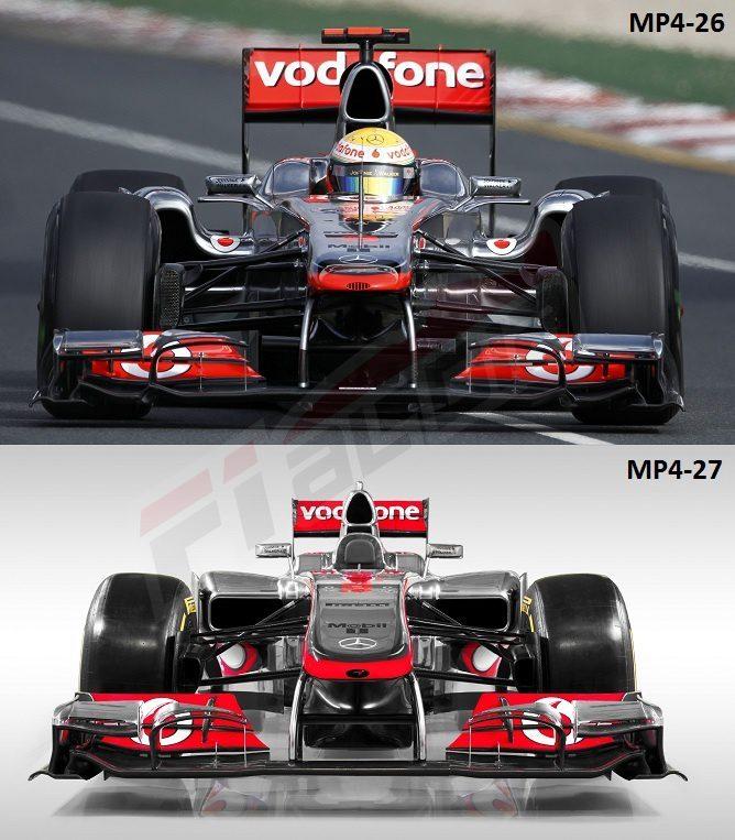 Comparación frontal MP4-27 con el MP4-26