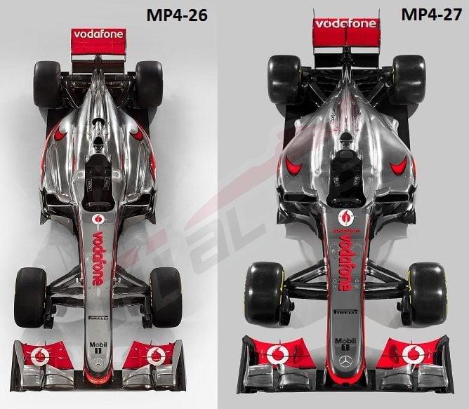 Comparación planta MP4-27 con el MP4-26